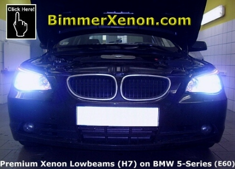 premium xenon lowbeam on our customer 39 s bmw 5 series e60. Black Bedroom Furniture Sets. Home Design Ideas